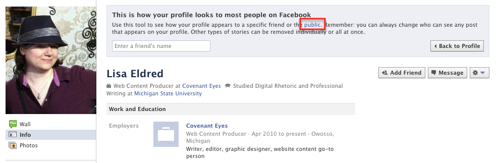 You can see how the public views your profile.