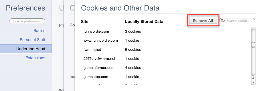clearing cookies in chrome