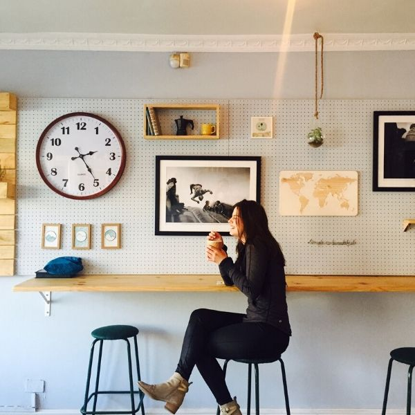 girl smiling in coffee shop