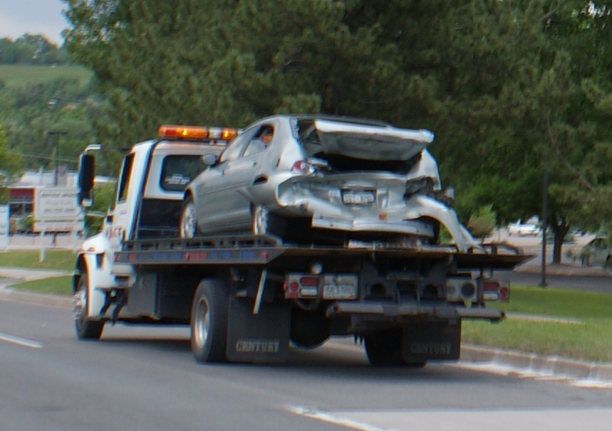 Smashed Car on Tow Truck