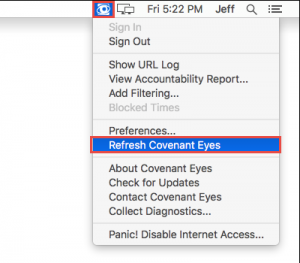 How do i refresh the covenant eyes software?