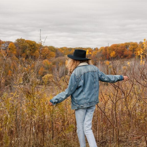 happy girl in fall field