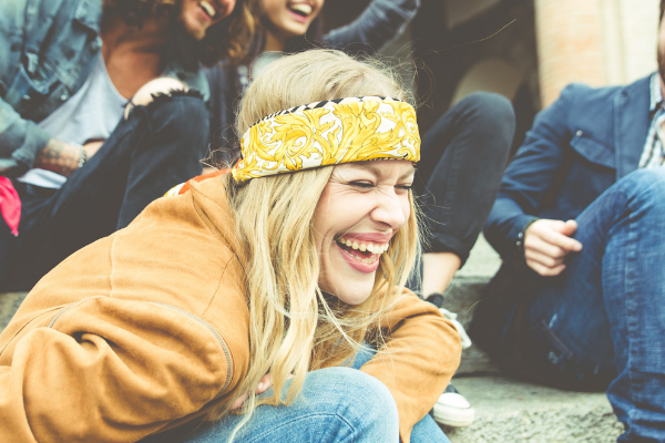 girl laughing with friends