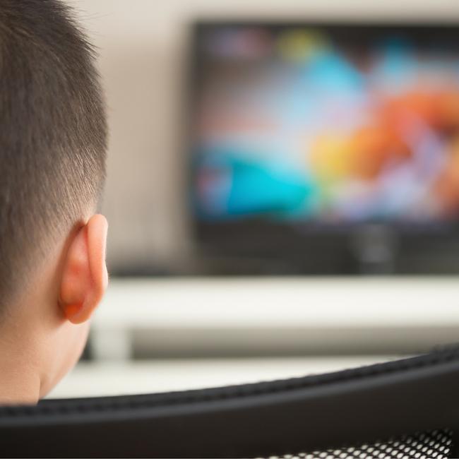 boy watching animated movie