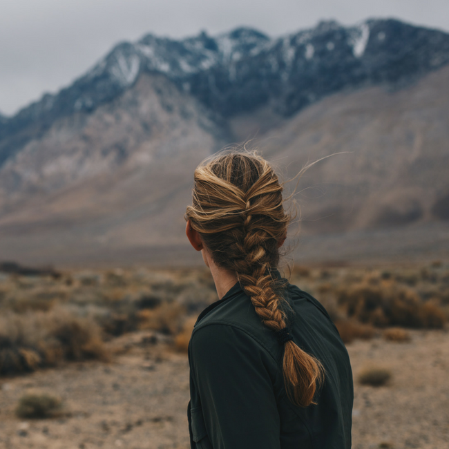 woman overlooking mountains