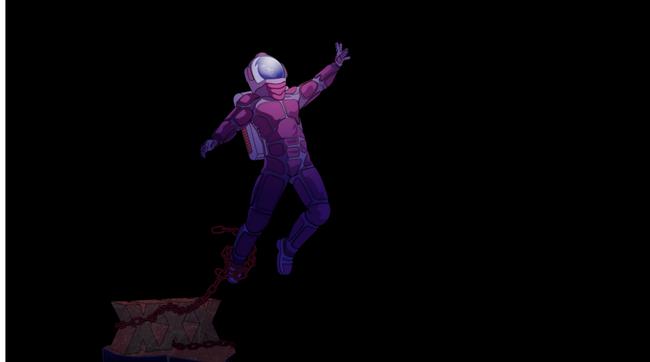 astronaut tethered to addiction icon