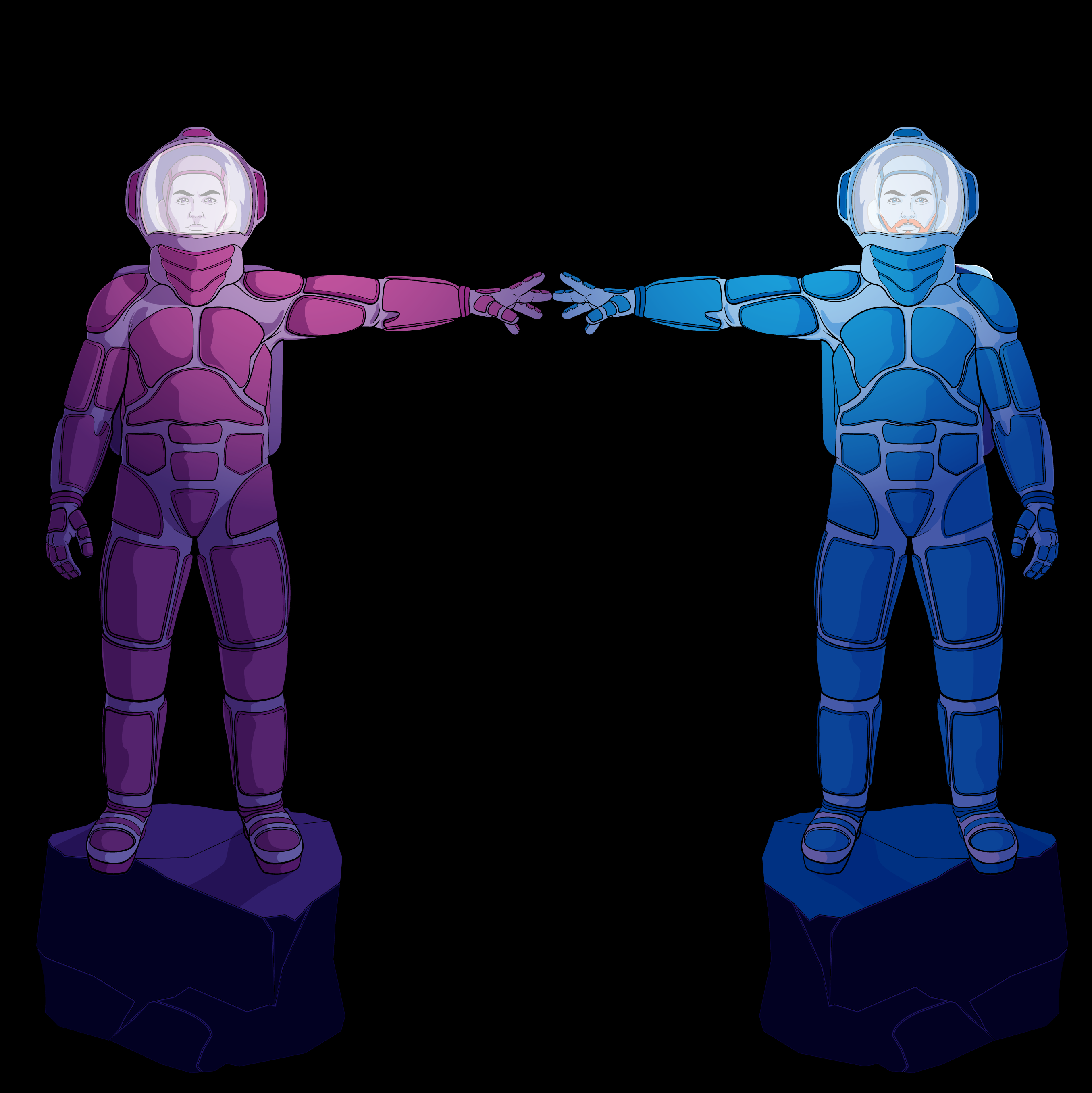 two astronauts grabbing hands