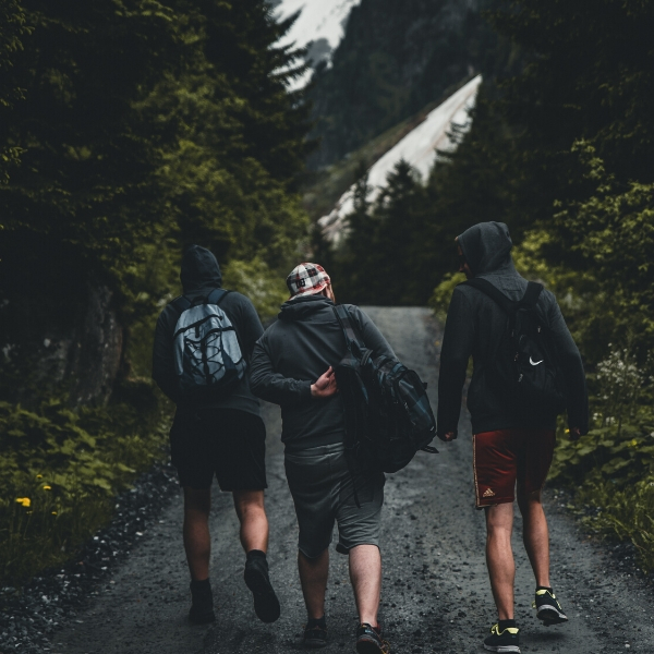 three friends hiking